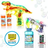 aa gun - My Bubble Machine | 2pcs Automatic Dinosaur Bubble Gun and Transparent Bubble Shooter | Battery Operated Bubble Blaster with 6pcs AA Batteries Bubble Solutions Bottles Included | Various Color | 317.2