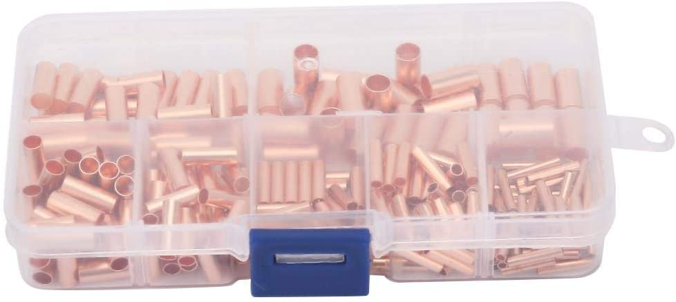 fasient GT1-6mm Red Copper Connecting Tube Intermediate Wire Joint Tube Connector 250Pcs Set for Connecting Electric Cable