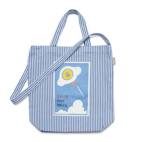 (Line Friends Cross Tote Bag - FLYING SALLY Character Pattern Printed Eco Friendly Cotton Shoulder Bag, Blue)