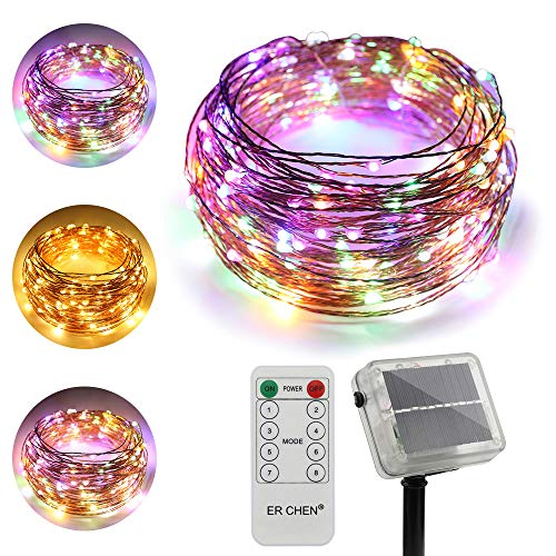 ErChen Dual-Color Solar Powered LED String Lights, 66FT 200 LEDs Remote Control Color Changing 8 Modes Copper Wire Decorative Fairy Lights for Outdoor Garden Patio (Warm White, Multicolor)