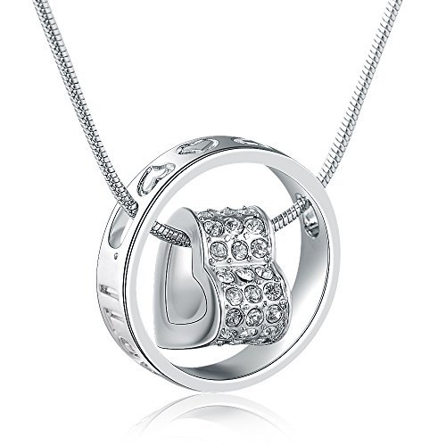 MARENJA-Valentine Gifts Women's Fashion Necklace-Crystal Heart Pendant Engraved with