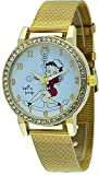 Betty Boop #BB-W070 Women's WWII Sailor Nurse Babe Gold Tone Mesh Band Analog Watch