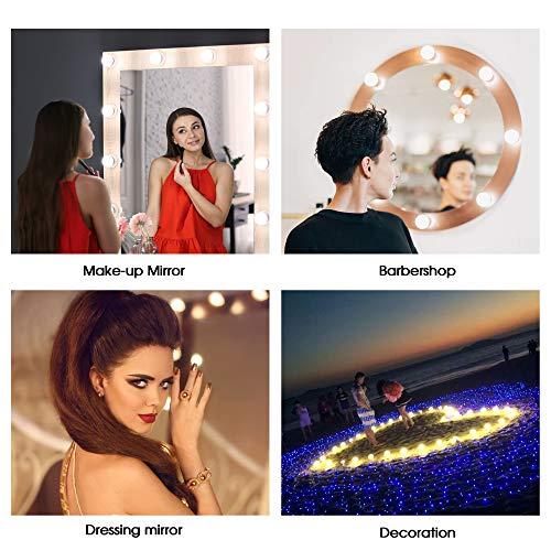 Azhien Luces de Espejo Maquillaje,Luces de Espejo de Tocador Estilo Hollywood con 3 Modos de Color y 10 Bombillas LED Regulables para Espejo de Maquillaje(Cable USB,sin espejo)