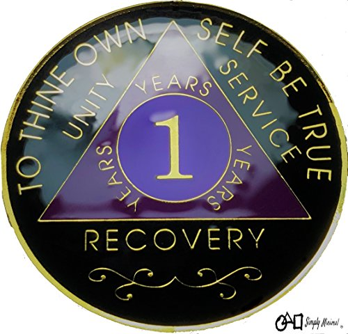 1 Year AA Gold Color Tri-Plated Medallion, Recovery Token, AA Token, Triple Clear Epoxy Sealed