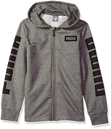 PUMA Little Boys' Rebel Full Zip Hoodie, Medium Heather Grey, 5 by PUMA
