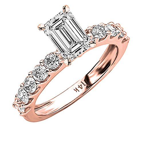 1.61 Carat 14K Rose Gold Classic Side Stone Prong Set Emerald Cut Diamond Engagement Ring (H Color SI1 Clarity Center Stones) ()