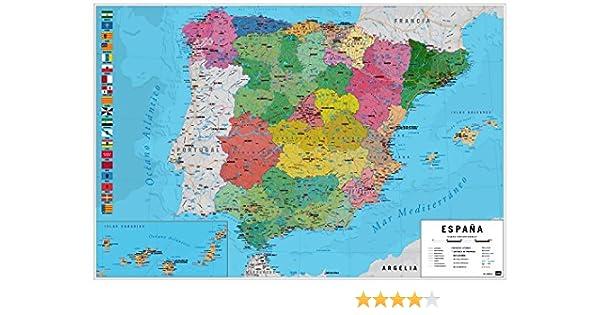 1art1 Mapas - Mapa España Fisico Politico Póster (91 x 61cm): Amazon.es: Hogar
