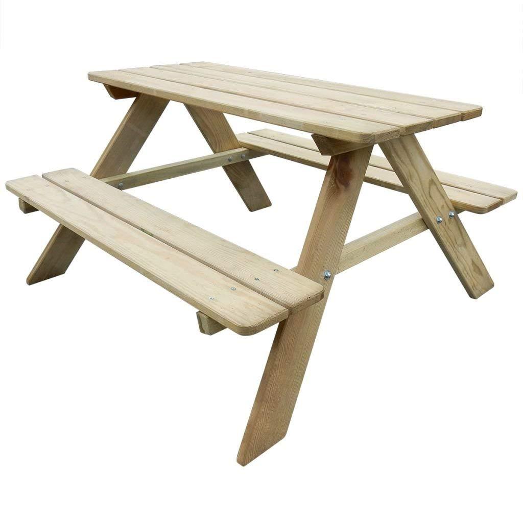 WT Trade Premium Kinder-Picknicktisch Holz 90x90x50 cm | Kindertisch Kindersitzgruppe 4 Sitzer | Gartenbank Tisch | Sitzgruppe Gartengarnitur
