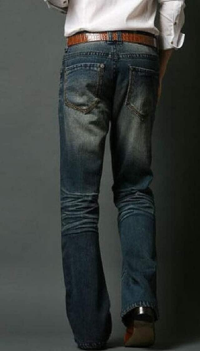 YUELANDE Men Washed Stylish Retro Slim Jeans Denim Pants