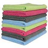 "Sinland Microfiber Towel Car Wash Cleaning Auto Detailing Kitchen Cleaning Cloths 320gsm (Pack of 8 Pieces) 4 Colors (14 1/8"" X 14 1/8"", 2 Grey+2 Deep Pink+2 Light Blue+2 Light Green)"