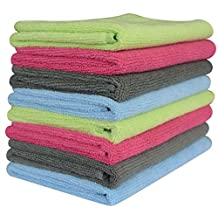 """Sinland Microfiber Towel Car Wash Cleaning Auto Detailing Kitchen Cleaning Cloths 320gsm (Pack of 8 Pieces) 4 Colors (14 1/8"""" X 14 1/8"""", 2 Grey+2 Deep Pink+2 Light Blue+2 Light Green)"""