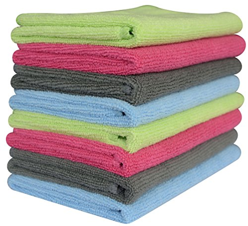 Amazon Lightning Deal 56% claimed: Microfiber Towel Car Wash Cleaning Auto Detailing Kitchen Cleaning Cloths 14 1/8 Inch X 14 1/8 Inch (Pack of 8 Pieces) 4 Colors