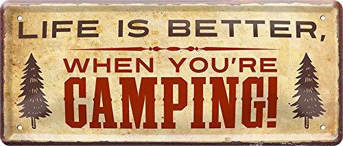 """513OlYIbh3L Blechschilder Camping Spruch """"Life is Better When You're Camping!"""" Camper Wohnwagen Wohnmobil Deko Schild Metallschild…"""