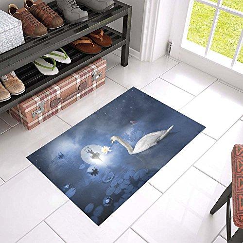 Atmospheric Ballerina Scene Anti-slip Door Mat Home Decor,Full Moon Night Sky Indoor Outdoor Entrance Doormat 23.6 X 15.7 Inches Entryway Mat Decor