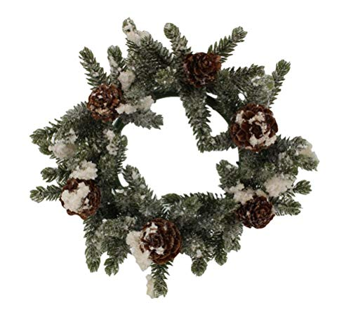 (5.5-inch (3.2-Inch Inner Ring) Artificial Snowy Mini Angel Pine Cone Candlering Candle Ring)