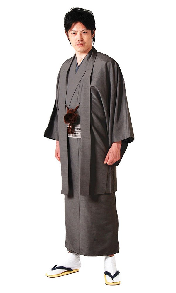 KYOETSU Men's Washable Lined Kimono and Haori-jacket set Tsumugi (Large, Dark grey) by KYOETSU