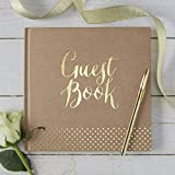 Ginger Ray Kraft & Gold Foiled Wedding Guest Book - Kraft Perfection