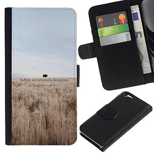 Funny Phone Case // Cuir Portefeuille Housse de protection Étui Leather Wallet Protective Case pour Apple Iphone 6 / Dangereux Buffalo /