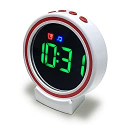 Bluetooth Clock with Small Makeup Mirror, Stereo Speaker & TF Card, Handheld USB Rechargable Battery Alarm Clock for Women, Girls, Kids, Travel, Hiking, Camping, Yoga