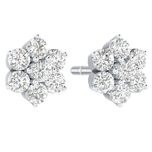 Demira Jewels IGI Certified Natural Diamond 10k White Gold Stud Earrings (1/2 cttw, I-J Color, I2-I3 Clarity)