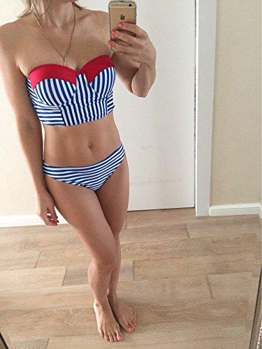 Pièces Swimwear Bikini Bain Pour 2 Ensemble Rayure Femme Acvip Maillot Beachwear De FHYZYx