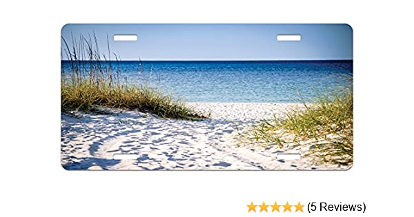 Lunarable Beach License Plate Blue Green White High Gloss Aluminum Novelty Plate 5.88 X 11.88 Path to Beach Clear Sky Bushes Grasses Windy Sunny Day Peaceful Gulf of Mexico