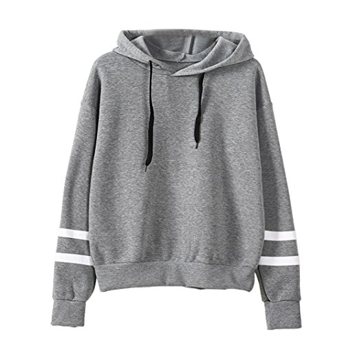 Sunhouse Women Autumn And Winter Loose Long Sleeve Fashion Casual Fleece Hooded Pullover Sweatshirt (M, Gray)