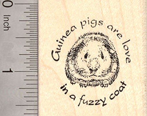 Guinea Pig Rubber Stamp, love in a fuzzy coat Saying