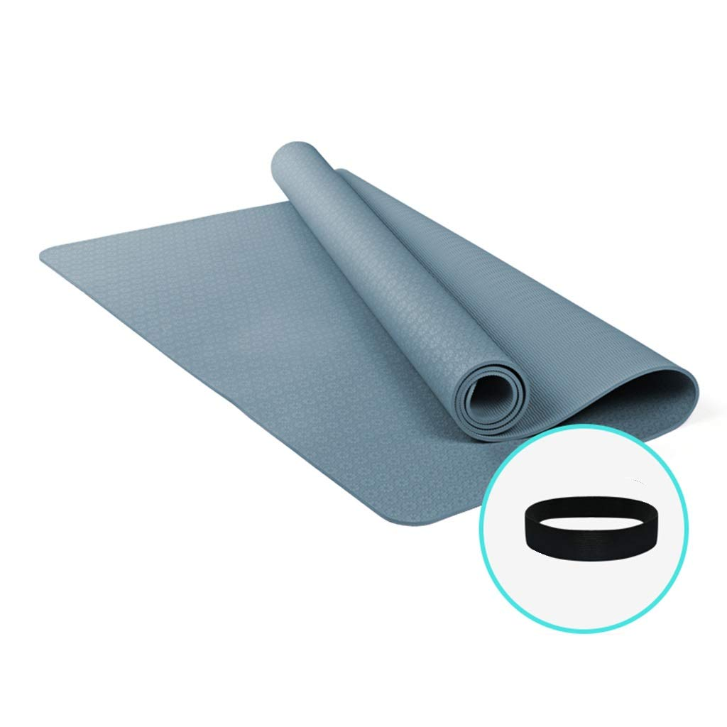 高密度長くなるヨガマットエクストラ厚いノンスリップフィットネスクッション付きキャリングストラップ185 * 122 cm 2サイズ (色 : Grayish blue, サイズ さいず : 8mm) B07PF43HQM 6mm Grayish blue Grayish blue 6mm