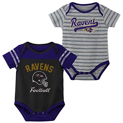 Outerstuff NFL NFL Baltimore Ravens Newborn & Infant Dual-Action 2 Piece Bodysuit Set Black, 6-9 Months