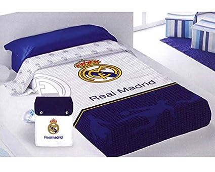 SUMMER QUILT - Colcha Coprilleto Licencia REAL MADRID cama 90 (182x260 cms) + Mochila