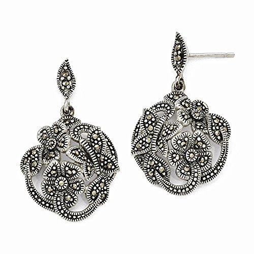 Sterling Silver Simulated Marcasite Flower and Butterfly Dangle Post Earrings (Approx 33mm x 20mm) (Silver Marcasite Flower Earrings)