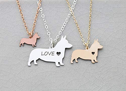 Corgi Dog Necklace - IBD - Cardigan Pembroke Welsh - Personalize Name Date - Pendant Size Options - 935 Sterling Silver 14K Rose Gold Filled