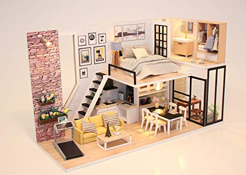 Flever Dollhouse Miniature DIY House Kit Creative Room with Furniture for Romantic Valentine's Gift-Give You Happiness