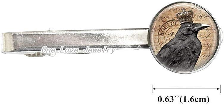 Black Laser Cut Raven Crow Bird Tie Clip in Silver