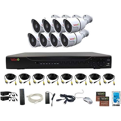 Revo America AeroHD 16Ch. 4MP DVR, 2TB HDD Video Security System, 8 x 1080p IR Bullet Cameras Indoor/Outdoor - Remote Access via Smart Phone, Tablet, PC & MAC -  RAJ162A2B8G-2T