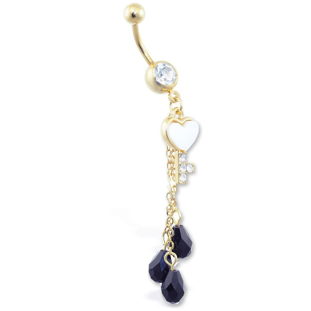 MsPiercing Gold Tone Jeweled Belly Ring With Dangling Heart Key And Black Stones