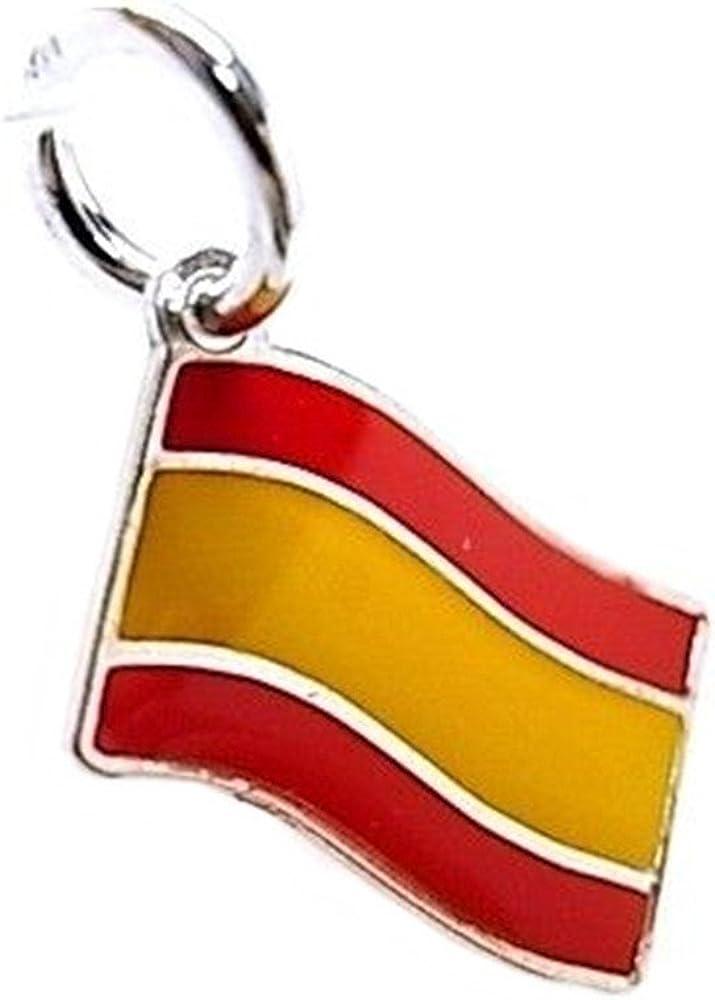 Colgante Plata Ley 925M Esmaltado 13mm. Bandera España Rojo Amarillo: Amazon.es: Joyería