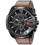 Diesel Men's DZ4343 Mega Chief Gunmetal Brown Leather Watch