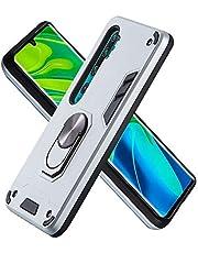 FAWUMAN Funda para Xiaomi CC9 Pro Soft TPU + Duro PC Doble Parachoques Cubierta a Anillo Soporte con Soporte y Carcasa Desmontable, Funda Protectora Serie Armadura (Plata)