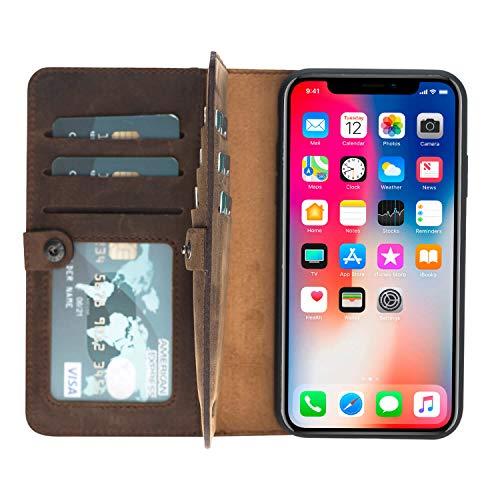 Fold Distressed Leather Bi (Burkley Bi-Fold Detachable Leather Wallet Case designed for Apple iPhone XR (2018)(6.1