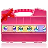 Ash Durable Figures Carrying CASE Storage Organizer | Fits Up to 50 Mini Toys Miniature Characters Or Tiny Bags & Baskets| Pink Toys Box with Compartments & Handle Brand