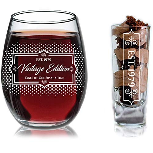 1979 40th Birthday Gifts Under $10 for Women and Men Wine Glass - Funny Vintage Birthday/Ruby Anniversary Gift Ideas for Mom, Dad, Husband or Wife - Wine Glasse + Shot Glass for Red or White Wine (Ruby Red Glass)