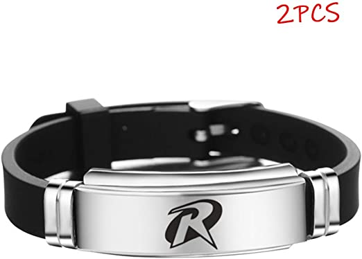 Bracelet,Avengers Movies Surrounding Stainless Steel Fashion Adjustable Wristband Sports Silicone Wristband 2 Pieces mlxg Color : A