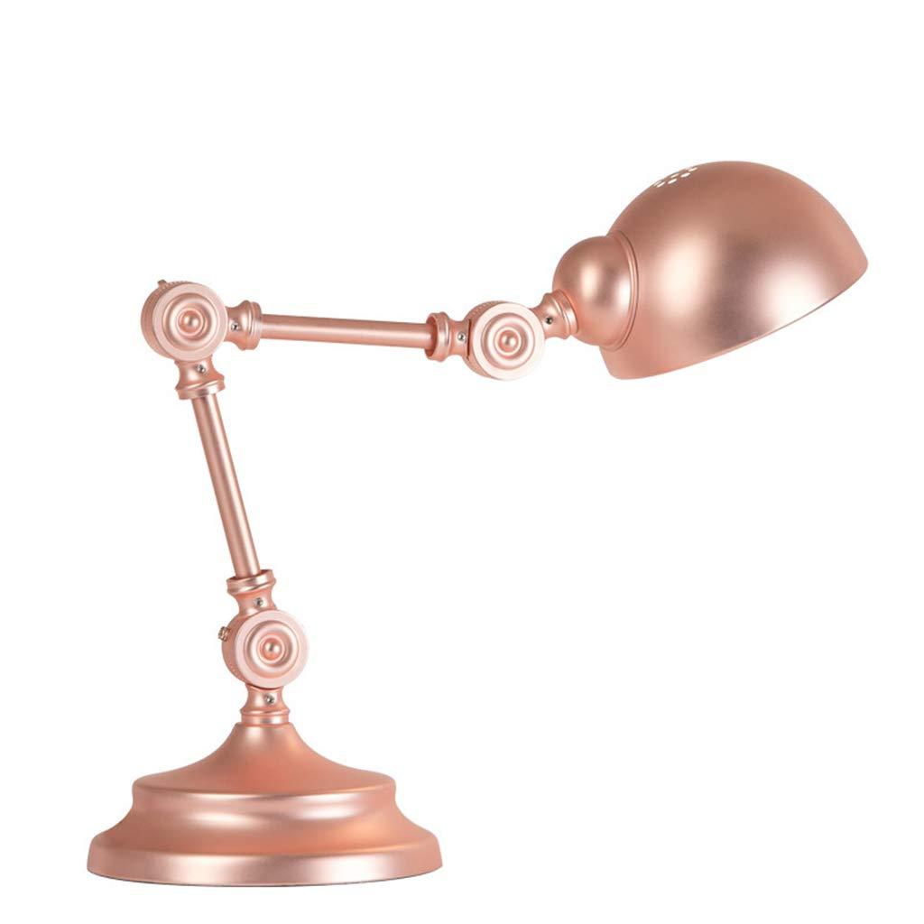 NACHTTISCHLAMPEN lixin Eisen Tischlampe Schlafzimmer Schlafsaal Tischlampe (Farbe   RoséGold, Größe   15  15cm)