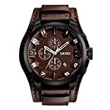 Mens Wide Leather Cuff Sport Wrist Watch Analog Quartz Classical Business Casual Watches for Men, Teens, Boys, 30M Waterproof, Calendar Date, Stop Watch .
