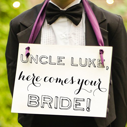 Uncle Here Comes Your Bride Sign {Personalized with Custom Groom's Name}