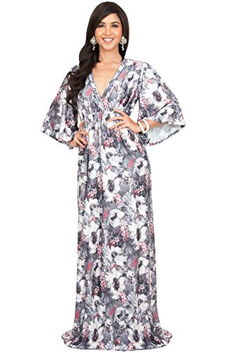 Print Long Sleeved Dress (KOH KOH Plus Size Women Long Kimono 3/4 Sleeve Sleeves Flowy Floral Flower Print Casual Summer Sun Maternity Sundress Gown Gowns Maxi Dress Dresses, Gray White and Red 2 X 18-20)