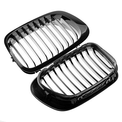 Price comparison product image Glossy Black Euro Sport LH & RH Front Upper Kidney Grille for 1999-2002 BMW E46 2 Door Pre-Facelift Coupe Cabriolet / 01-06 M3