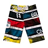 NUWFOR Men's Fashion Casual Patchwork Beach Surfing Swimming Loose Short Pants(Multicolor,US M Waist:32.3'')